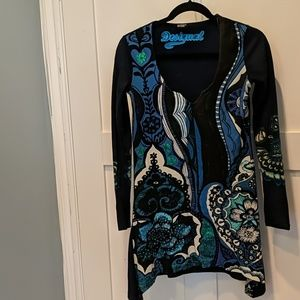 Desigual navy pattered long sleeve tunic